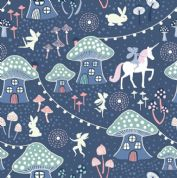 Lewis & Irene - Fairy Nights - 6908 - Toadstool Village on Navy Blue  - A403.3 - Cotton Fabric